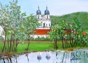 Kloster an der Jagst, Acryl, 50 x 69 cm