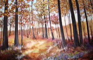 Herbstwald, Acrxl, 90 x 120 cm, eingerahmt