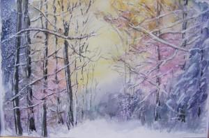 Wintertag, Aquarelle, 40 x 50 cm