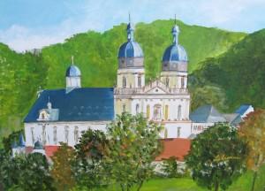 Kloster Schöntal, Acryl, 50 x 70 cm