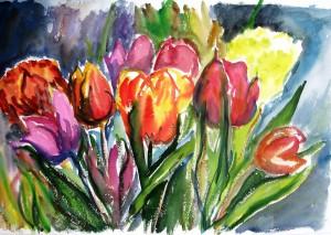 Tulpen, Aquarelle, 40 x 60 cm