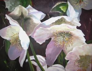 Christrosen, Acryl, 60 x 80 cm (verkauft)