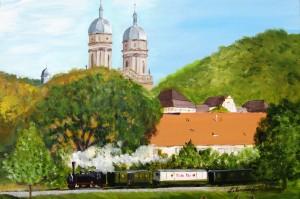 Die Jagsttalbahn in Schöntal, Acryl, 50 x 70 cm