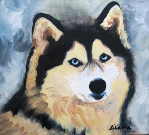 Husky 1, Acryl, 30 x 30 cm