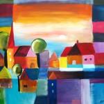 Dorf, Acryl, 80 x 100 cm