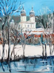 Winter Kloster, 30 x 40 cm